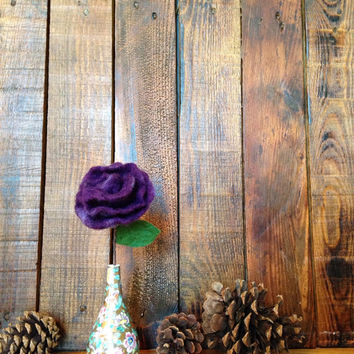 Felted Rose with Vintage Japanese Vase, Home Decor, Mother's Day Gift: HANDMADE FIBER ART