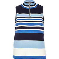 River Island Womens Blue stripe sleeveless zip neck top