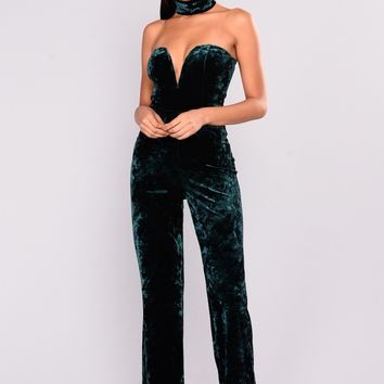 Call Me Crushed Velvet Jumpsuit - Hunter Green