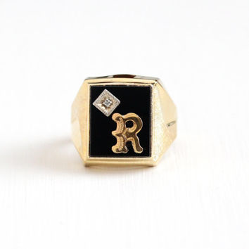 Vintage Gold Washed Sterling Silver Diamond & Black Stone Letter R Ring - Retro Size 9 Simulated Onyx Glass Signet Vermeil Inital Jewelry