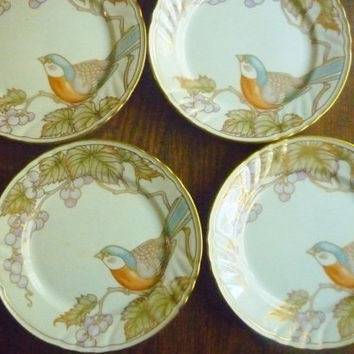 1 Vintage FITZ and FLOYD 4 matching plates available Vineyard  BIRD 1960s fine Porcelain Made in Japan beautiful