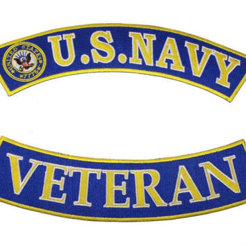 US NAVY VETERAN PATCHES SET 2 ROCKRS FOR MOTORCYCLE BIKER LEATHER VEST JACKET