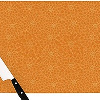 "Kess InHouse Julia Grifol ""Orange Flowers"" Cutting Board, 11.5 by 8.25-Inch, Orange"