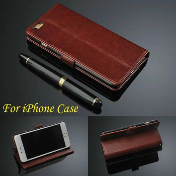 Luxury Wallet with Flip Stand Style Leather case For iPhone 7 Case 4 4S 5 5S SE 6 6S Plus Phone Back Cover for iPhone 6 Case