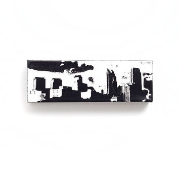 Philadelphia Skyline Canvas (White w/ Black & Black Border) Screenprint/Painting, Philadelphia Wall Art, Black and White Home Decor, Urban