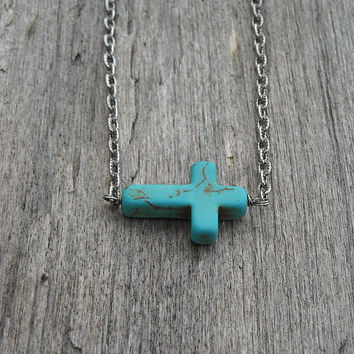 Sideways Cross Necklace, Cross Necklace, Turquoise,