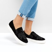 New Look Velvet Embroidered Slip On Sneaker at asos.com