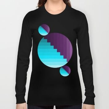 Ups and Down | Deep Within | Purple | Blue | Turquoise Long Sleeve T-shirt by Azima