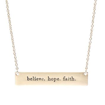 Believe. Hope. Faith Necklace in Gold