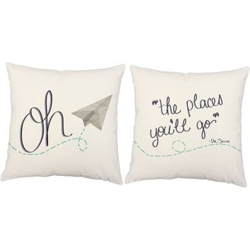 Oh the Places You Will Go Dr Seuss Quote Throw Pillows