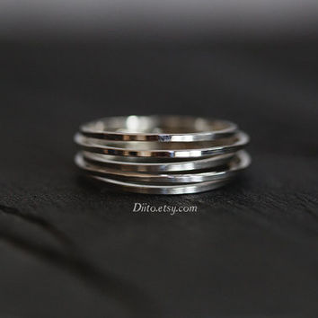 Size 7 , Sterling Silver, Handmade Jewelry, Five Ring Ring, Band, Stacking Ring, Statement Ring, Ready To Ship!