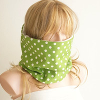 Dotted Fluffy Cotton Green and White Scarf, Neckwarmer, reversible