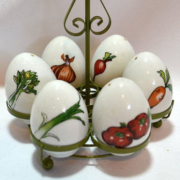 Spice Shakers - Egg Shaped  w/ Decals - Salt - Pepper - Curry - Paprika - Cinnamon - Oregano - Olive Green Metal Holder