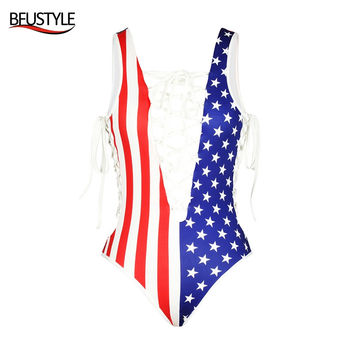 BFUSTYLE 2017 Sexy Women Independence Day Bath Suit USA American Flag Monokini Bandage One-piece Swimsuit Deep V-neck Swimwear