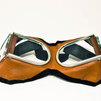 SALE Brown Goggles, Steampunk Goggles, Protective Glasses, FREE SHIPPING