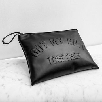 """Got My Shit Together"" Slim Leather Clutch"