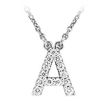 .14 Cttw Diamond & 14k White Gold Block Initial Necklace, Letter A