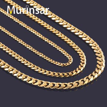 DKF4S Width 3.6mm/5mm/7mm Stainless Steel Gold Chain Men Necklace 18K Gold Filled Stainless Steel Link Chain Necklace Free Shipping