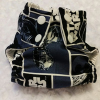 Navy Blue Star Wars Cloth Diaper Cover or Pocket Diaper - One-Size or Newborn, S, M, L