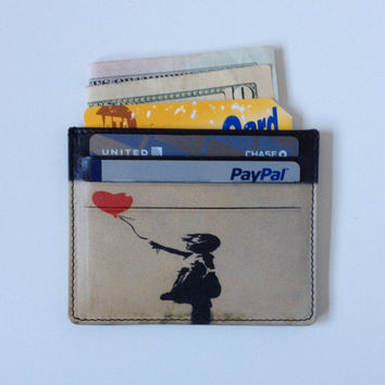 Credit Card Holder with Banksy Girl with the Red Heart Balloon Graffiti Art Printed on Genuine Leather Wallet Cool Slim Card Case