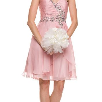 Strapless Ruched Bodice Homecoming Short Dress Rose