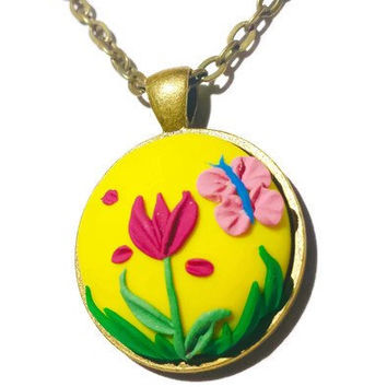 Yellow Floral Necklace Butterfly Necklace Tulip Flower Necklace Spring Jewelry Yellow Clay Charm Boho Necklace Clay Floral Necklace Gift