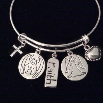 Guardian Angel of Health and Happiness Expandable Charm Bracelet Faith Gift Silver Adjustable Bangle