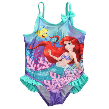 GLANE Kids Baby Girls One piece Swimwear Swimsuit Cute Little Mermaid Bathing Suit Swimsuit 1-5Y