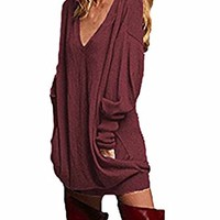 Bluetime Women Long Sleeve Tunic Top V Neck Casual Loose Blouse Shirts Plus Size