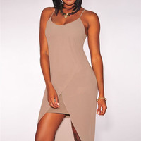 Taupe Tulip High Low Dress