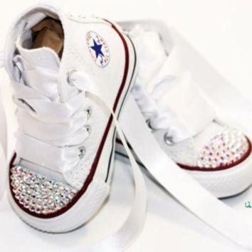 ICIKGQ8 infant toddler baby girl high top white converse all star chuck taylor s with white r