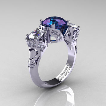 Scandinavian 14K White Gold 2.0 Ct Alexandrite White Sapphire Diamond Three Stone Designer Engagement Ring R406-14KWGDWSAL