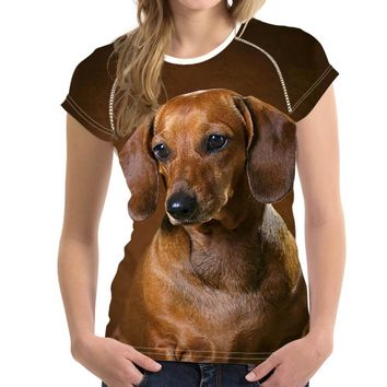 All Over Print Dachshund Dog T-Shirts - Women's Top Tee