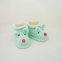 Knitt Baby Booties,Mouse booties, Cute Baby Booties, Mint Booties