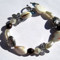 Butterfly Charm Bracelet With White Beads and Stones by By5Jewelry