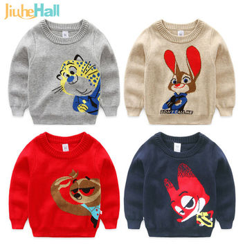 4 Types Spring Autumn Boys Sweater Cartoon Animal Pattern Thicken Boys Pullovers O-Neck Kids Knitwear CMB384