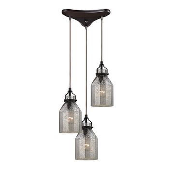 46009/3 Danica 3 Light Pendant In Oil Rubbed Bronze And Mercury Glass - Free Shipping!