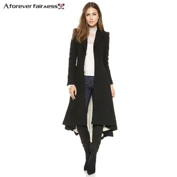 A Forever Women Coats European style Long Sleeve Casual Long Trench Coats Maxi Dovetail Fashion Slim Black Outwear