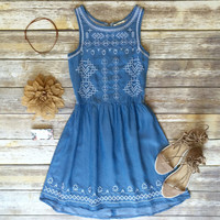Embroidered Denim Sundress