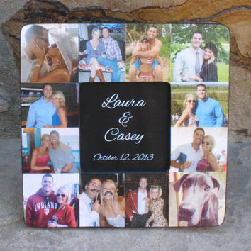 "Unique Engagement Gift, Personalized Picture Frame, Custom Collage Wedding Photo Frame, Unique Anniversary Gift, 8"" x 8"""