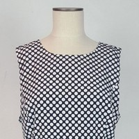 GAP Sleeveless Dress Dark Navy White Polkadot Print Skirt Work Dress Size 14