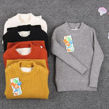 toddler ribbed sweater fur inside 2018 boy newborn baby knitted clothes tops jumper winter blacks and white wear for kids girls
