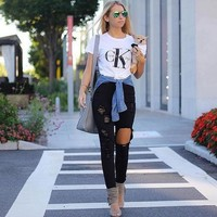 Short Sleeve Print Stylish Women's T-shirts Bottoming Shirt [11966553171]