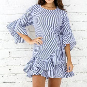 Over Flare Striped Dress