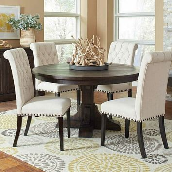 5 pc Weber collection smokey black textured wood finish round pedestal dining table