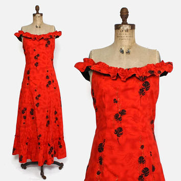 Vintage 50s Hawaiian Dress / 1950s Off the Shoulder Metallic Red Cotton Full Length Malahini Dress M