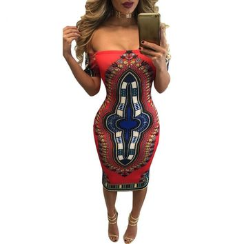 Women Dress Traditional African Print Dashiki Bodycon Sexy Short Sleeve  Dress With High Quality #LYW