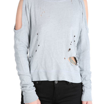 The Alexa Destroyed Sweater in Heather Grey