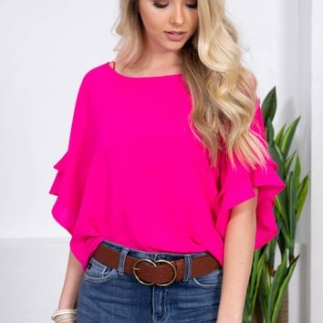 Merengue Flowy Flutter Top | Hot Pink