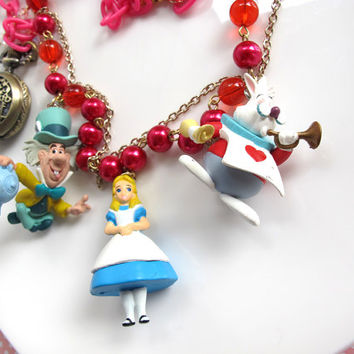 Kawaii Harajuku Mad Tea Party. Alice in Wonderland with White Rabbit and Mad Hatter. Glass beads pearls beaded Pocket Watch chain necklace